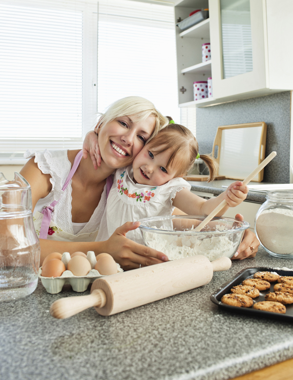 Determining Kitchen Cost article - stock image of blonde mom/child baking